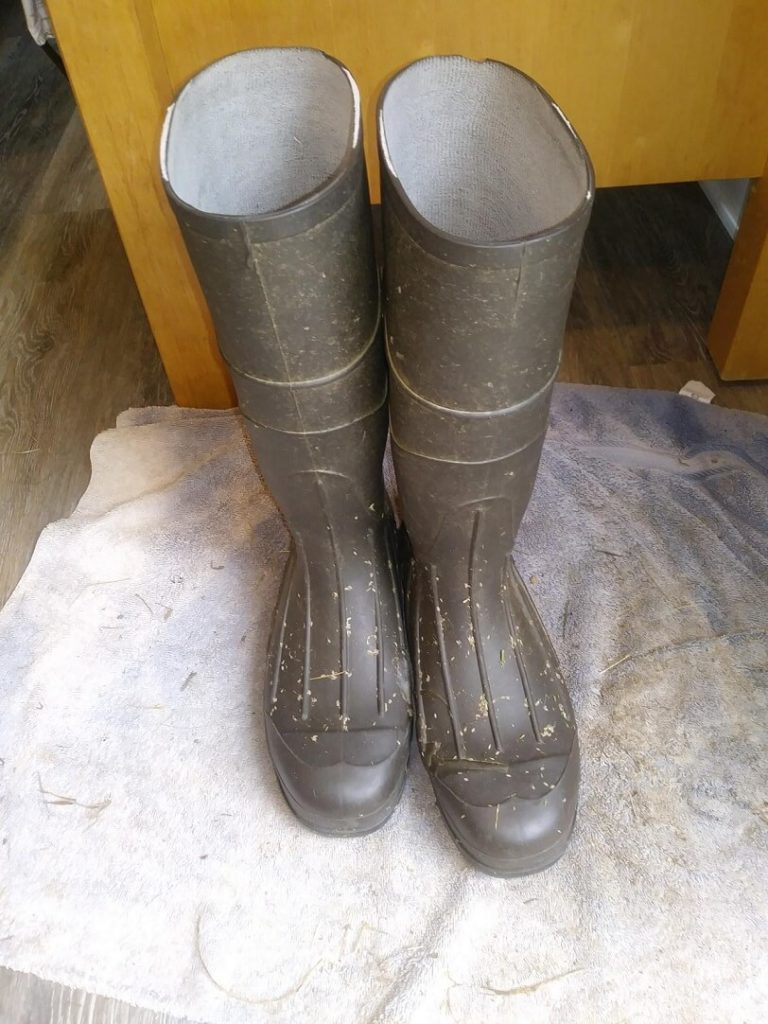 shows brown rubber boots (knee high)