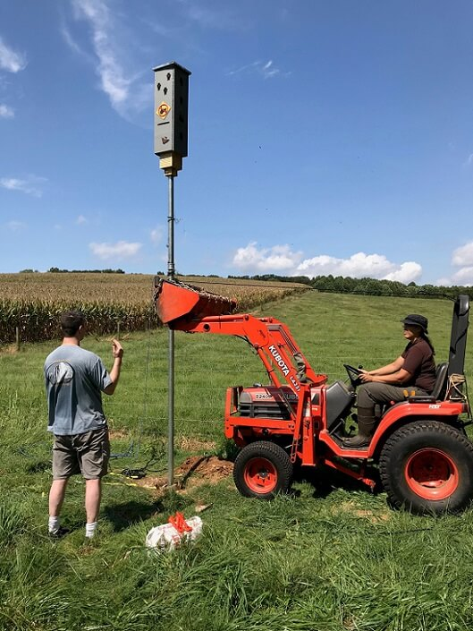 A tractor's front end loader was used to stabilize the bat box in it's vertical position