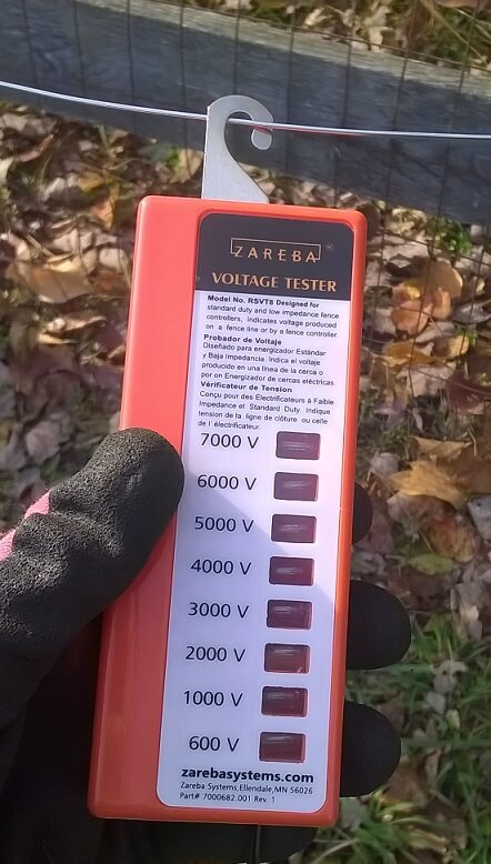 Using a Zareba voltage tester to see if the fence is live.